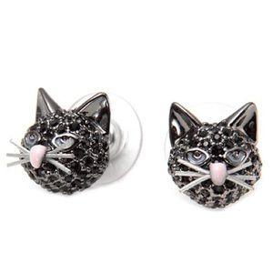Kate spade paved cat earrings